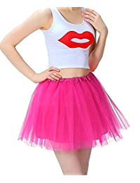 Imixshop Women's 3 Layers Ballet Dress-Up Fairy Tutu Skirt For Dance Party 12 Colors Available (One Size, Rose Red)