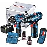 Combo 12V Bosch Chave de Impacto GDR 120-LI + Parafusadeira GSR 120-LI, 2 Baterias, Carregador BIVOLT, Kit de Acessórios em M