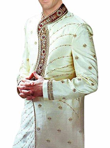 INMONARCH Mens Ultimate Look Designer Wedding Sherwani SH277 40R Ivory