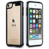 ULAK iPod Touch 6 Case, iPod Touch 7 Case, Clear Slim Hybrid Clear Bumper TPU/Scratch Resistant Hard PC Back Cover/Corner Shock Absorption Case for Apple iPod Touch 5 6th 7th Gen, Black