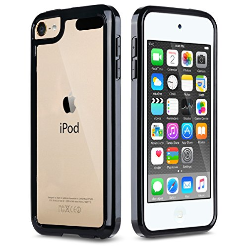 iPod Touch 6 Case,iPod Touch 5 Case,ULAK CLEAR SLIM Hybrid Premium Clear Bumper TPU/Scratch Resistant Hard PC Back Cover/Corner Shock Absorption Case for Apple iPod Touch 5 6th Gen_Black
