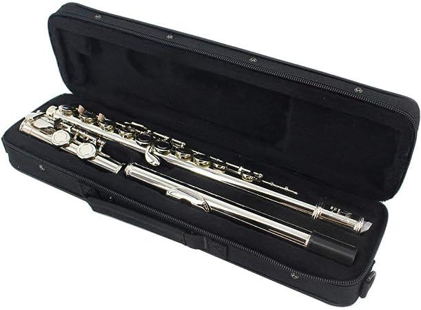 ABMBERTK Flauta chapada en níquel cuproníquel, Instrumento de Viento de Madera de Flauta Clave 16 Agujeros C, con Estuche, paño de Limpieza, Plateado: Amazon.es: Hogar