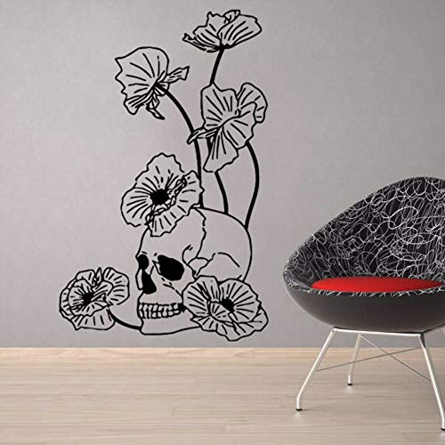 Wall Sticker Halloween Skull in Lotus Leaf Wall Stickers Halloween Party Decorations for Background of Home School Office and Shops 40X94CM -