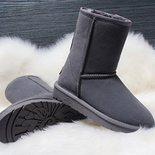 Evedaily Women and Men Snow Boots Fully Fur Lined Classic Tall Winter Snow Boots Grey twoNBBvD