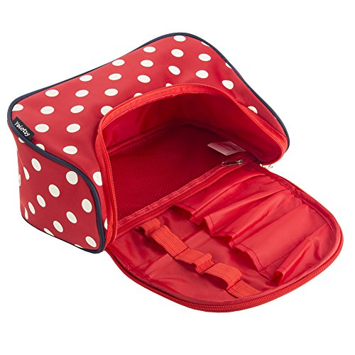 Red Cosmetic Bag, Yeiotsy Stylish Polka Dots Travel Toiletry Bag Makeup Organizer Zippers Closure (Classic Red) by Yeiotsy (Image #4)