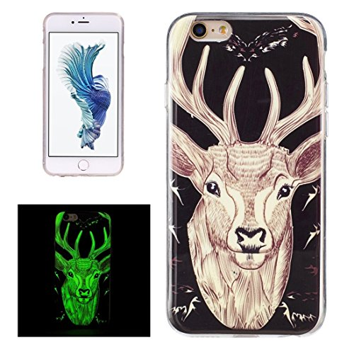 GR iPhone 6 Plus & 6s Plus Soft TPU Noctilucent Pflaumenmuster IMD Workmanship Rückseiten Cover Case ( SKU : Ip6p0938m )