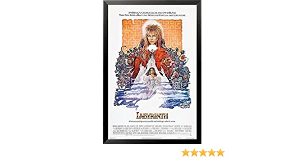 Buyartforless Framed Labyrinth Starring David Bowie 1986 36x24 Movie Art Print Poster IF PW 49656 36x24 1.25 Black