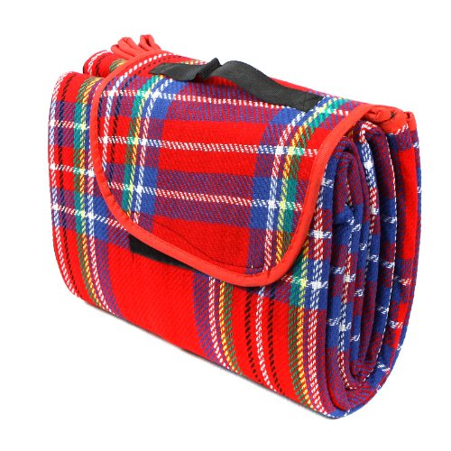 "Kingzer Waterproof 59"" X 79"" Outdoor Picnic Hiking Moistureproof Mat Plaid Blanket Red from KINGZER"