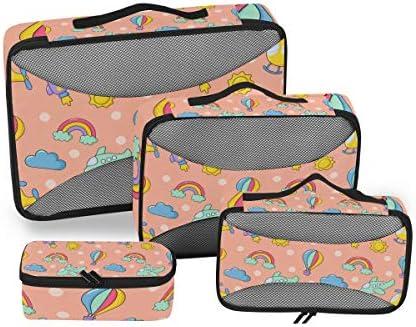 ピンクの飛行機レインボーロケット荷物パッキングキューブオーガナイザートイレタリーランドリーストレージバッグポーチパックキューブ4さまざまなサイズセットトラベルキッズレディース