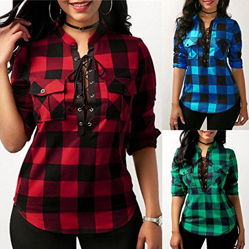 2e88f081533 ... MOONHOUSE 2018 Women's Fashion Sexy Deep V Neck Long Sleeve Fitted Plaid  Front Tie Bandage Tops Blouse Pockets Plus Size ...