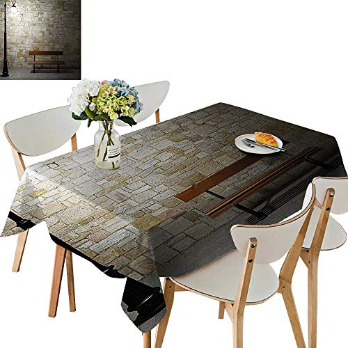 UHOO2018 Polyester Fabric Tablecloth Square/Rectangle Avenue at Dark Night Open Lamp and Bench and St Wall Behind Image for Picnic,Outdoor or Indoor,52 x - Lamp Horn Italian