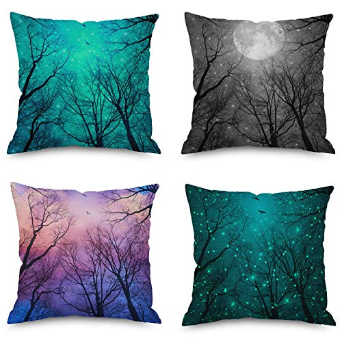 - Dreamlike Starlight Sky and Trees Throw Pillow Covers, 18 x 18 Inches for Sofa, Bench and Bed, Home Decorative Accent Cushion Cases Sef of 4 (Starlight Sky)