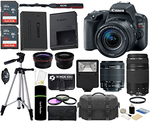 Canon EOS Rebel SL2 DSLR Camera with Vari-Angle LCD + 18-55mm IS STM Lens + 75-300mm III Lens + SanDisk 32GB & 16GB Card + Wide Angle + Telephoto Lens + Flash + Grip + Tripod – 48GB Accessories Bundle