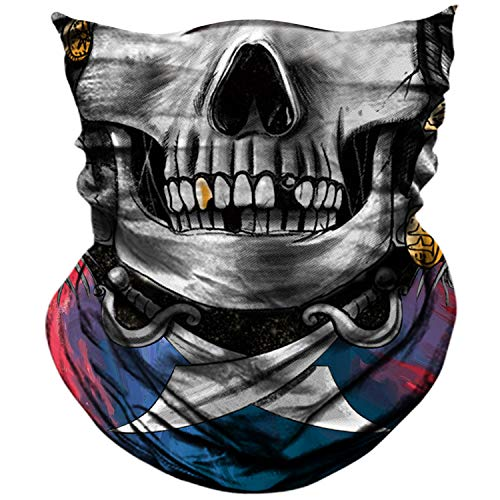AXBXCX 3D Skull Skeleton Neck Gaiter Face Mask for Motorbike Motorcycle Cycling Riding Hiking Hunting Fishing Skateboard Powersports Cosplay Halloween Party Music Festivals Raves Tube Face Mask 087