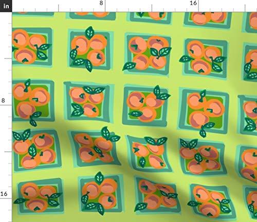 (Green + Orange Summer Peach Fabric - On Celery + Fruit Farmer Market Kitchen Decor Abstract Kristi Heck K Art K K Print on Fabric by the Yard - Velvet for Upholstery Home Decor Bottomweight Apparel)