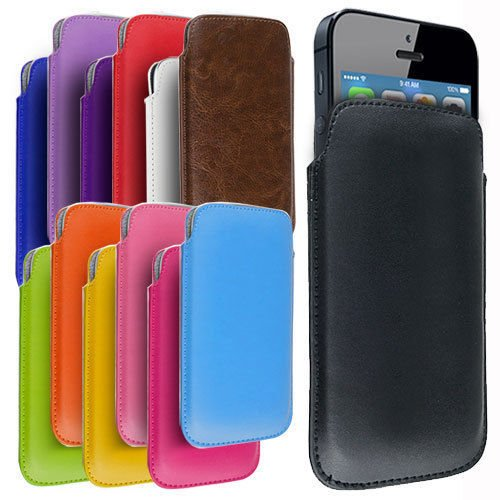 Custodia protettiva Pull Tab Case Slim simil pelle MARRONE - Cover per Apple Iphone 5 e 5S - Protettiva - ORIGINALE EASYPLACE®