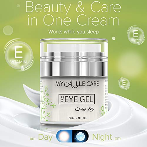 51MNjVS1wJL - Eye Gel with Hyaluronic Acid, Reduce Dark Circles, Puffiness and Eye Bags. Anti Wrinkle Under Eye Treatment, Hydrating Gel with Collagen, Aloe and Vitamin E, Anti Aging Cream for Men & Women