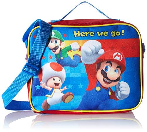 Nintendo SD30954UPRE00 Mario, Luigi, and Yoshi Rectangle Bag with Strap Lunch Kit ()