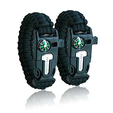 ROKKES Emergency Paracord Bracelet Survival - [2 pack] PB01 Outdoor Survival Kit ,Including Compass, Flint, Fire Starter, Scraper, Whistle, for Hiking Camping Emergency (Black)