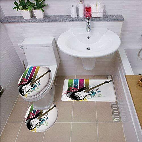 Toilet carpet floor mat,Guitar,Bass Guitar on Colorful Vertical Stripes with Floral Natural Artistic Ornaments Decorative,Multicolor ,Bath mat set Round-Shaped Toilet Mat Area Rug Toilet Lid Covers 3P (Dc Guitar Logo)