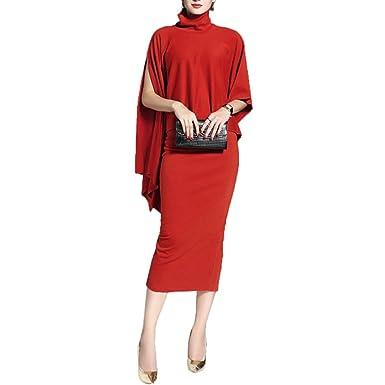 f5b6edb786 Amazon.com  Women s Sexy Cplit Cape Evening Cloak Bodycon Mini Dress ...