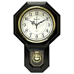 Timekeeper Essex Westminster Chime Pendulum Wall Clock, 17.5 x 11.25, Black