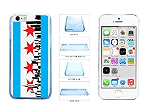 Chicago Flag Skyline Clear Plastic Phone Case Back Cover Apple iPhone 6 Plus (5.5 Inches)