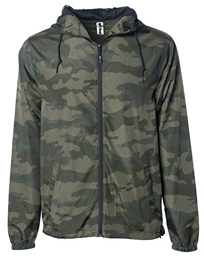 Global Blank Men's Lightweight Windbreaker Winter Jacket Water Resistant Shell Camoflauge