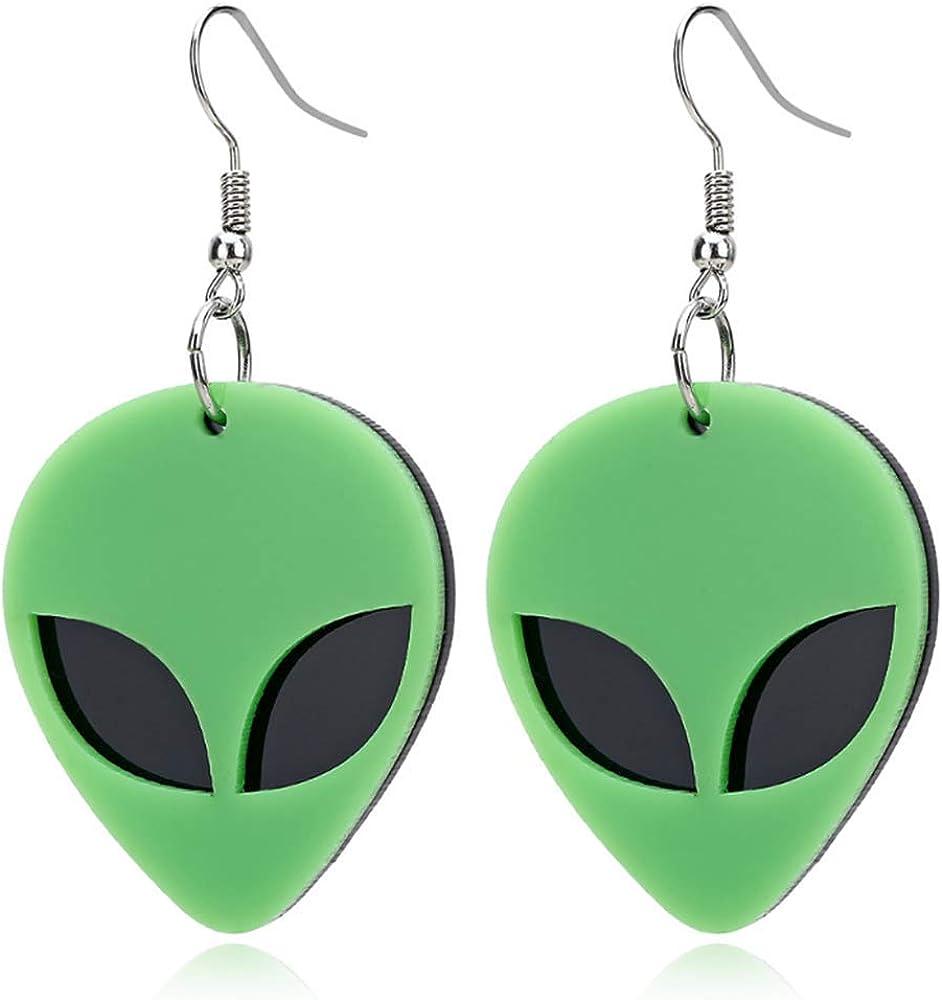 Extraterrestrial Space Statement Earrings Pierced or Clip-on Green Alien Acrylic Earrings