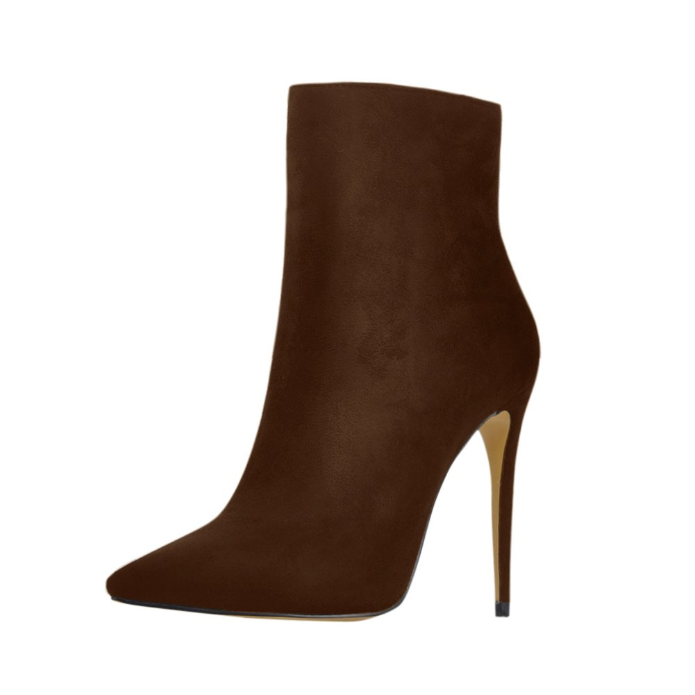 onlymaker Pointed Toe Ankle Boots for Women Side Zipper Dress High Heels Shoes Booties B078LYZCXS 10 B(M) US Brown Suede