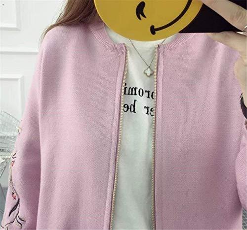 Collo Moda Rosa Glamorous Con Maglia Rotondo Ricamo Semplice Autunno Giacca Floreale Alta Corto Elegante Lunga Cerniera Cappotto Manica Casual Di Giaccone Donna A Qualità gIxnq6