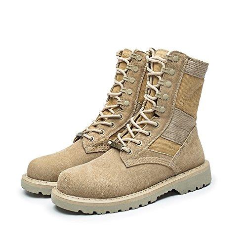 GUNAINDMX  Martin stivali Uomo scarpe Military Military Military stivali Wild,39 Standard Leather Dimensione,Beige High to Help Men 5b0a2a
