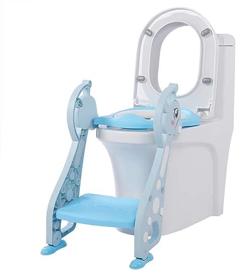 Orinal de entrenamiento con escalera, bonitos reposabrazos, escalera, silla para niños, niños pequeños, formación, asiento suave para inodoro, color azul: Amazon.es: Bebé