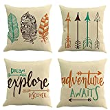 MIULEE Pack of 4 Inspirational Quote Arrow Series Decorative Throw Pillow Cover Cotton Linen Cushion Cover Pillow Case Car Sofa Bed Home Couch 18 x 18 inch 45 x 45 cm