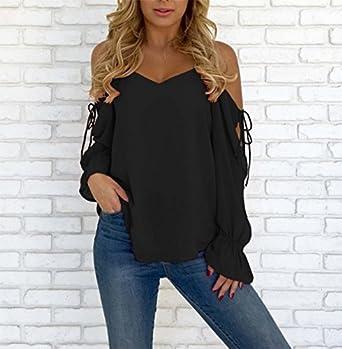 SKNSM Estilo de dama Camisa de chifón con cuello en V y manga larga con cuello en V negro para dama (L) para camisetas y blusas para mujer (Color : Black, ...
