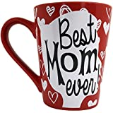 Valentine's Mom Coffee Mug Gifts - Best Mom Ever Ceramic Tea Cup - Birthday Presents for Mothers and Grandma - Red - 12 Oz.