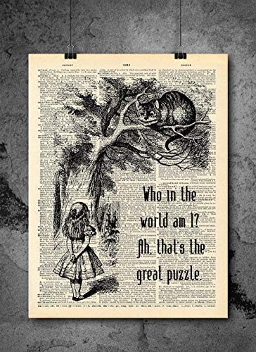 Alice In Wonderland Who In The World Am I Quote Dictionary Art Print - Vintage Dictionary Print 8x10 inch Home Vintage Art Wall Art for Home Decor For Living Room Bedroom Ready-to-Frame