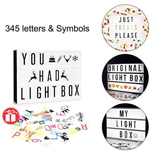 Mini Letters (LED Cinema Lightbox Changeable Letters - Doingart Mini Cinematic Light Box 345 Letters with Emoji, Symbols and Numbers DIY Marquee Signs for Home and Wedding Decor (USB or Battery)