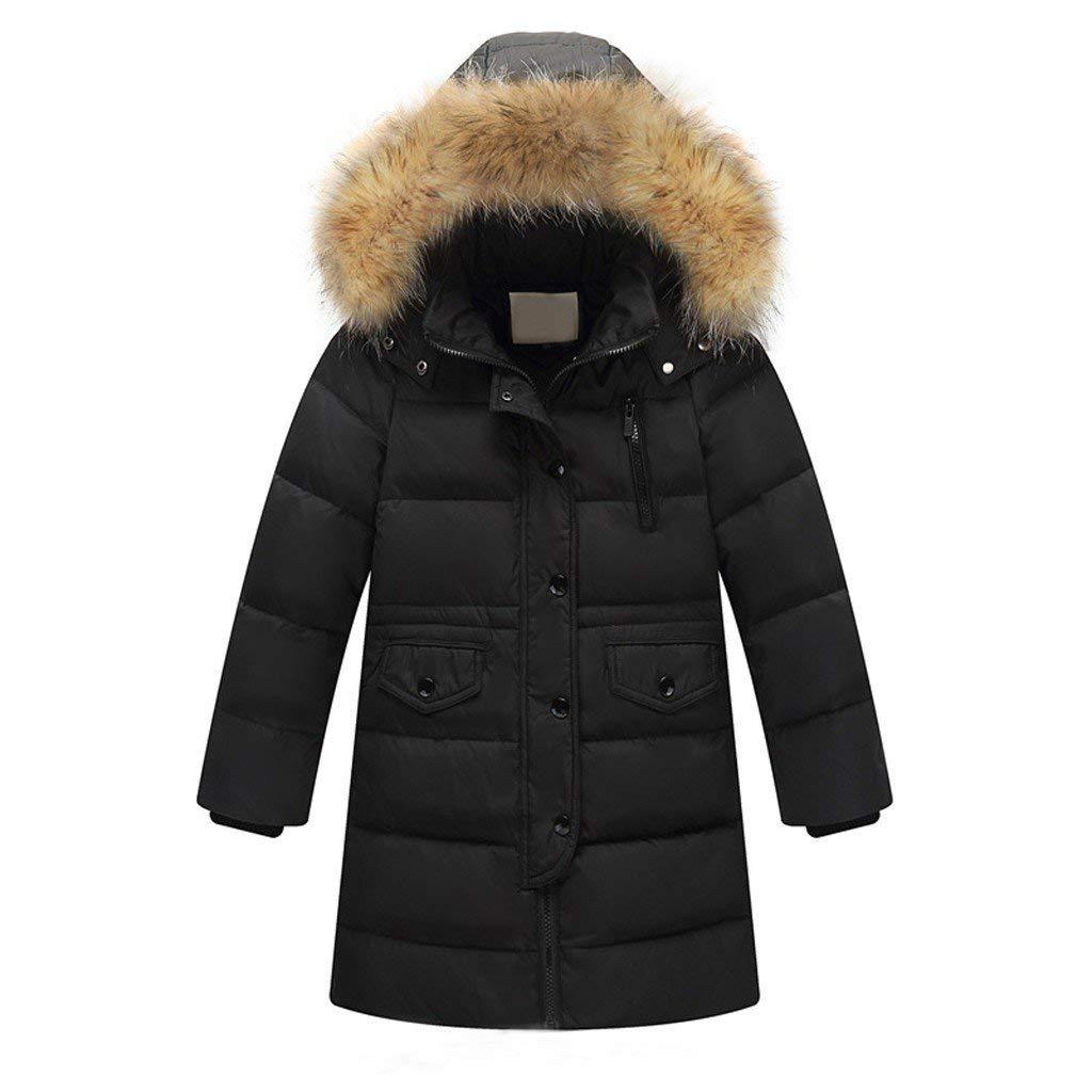Riou Kinder Baby Lang Daunenjacke mit Pelz Ultraleicht Wintermantel Winter Warme Jungen M/ädchen Jacke mit Kapuze Hochwertig Sch/ön Parka Mantel