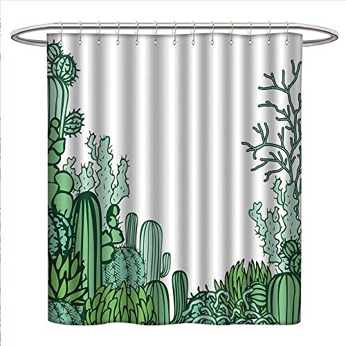 (bybyhome Cactus Decor Shower Curtains Fabric Arizona Desert Themed Doodle Cactus Staghorn Buckhorn Ocotillo Bathroom Decor Set with Hooks W48 x L84 Green Light Green)
