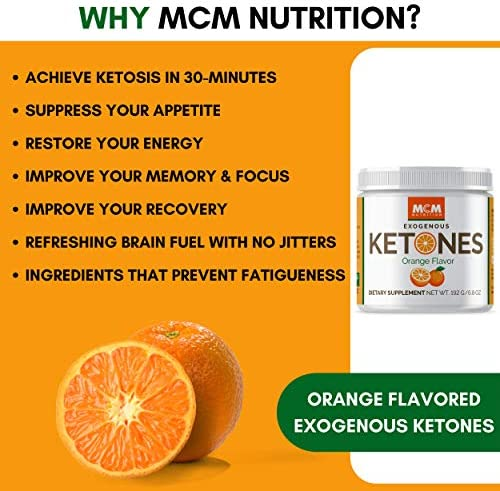 MCM Nutrition – Exogenous Ketones Supplement & BHB - Boosts Energy & Suppresses Appetite - Instant Keto Mix That Puts You into Ketosis Quick & Boosts The Keto Diet (Orange - 15 Servings) 8