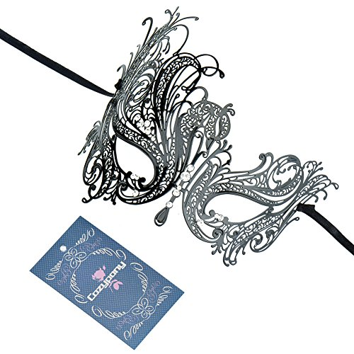 Masquerade Masks,Cozypony Metal Laser Cut Elegant Princess Peocock with Rhinestones Venetian Mask for Dance Performance Party, Mardi Gras or Prom Masks (One Size, Black)