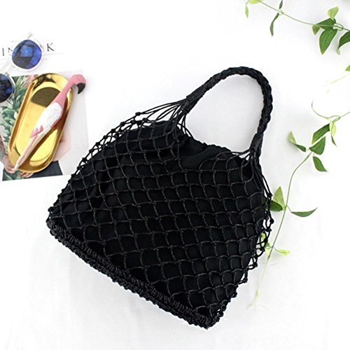 Straw Beach Super Woven Bag Straw Hand Beach Weave Hollow Summer Bag Interlocking Grip Bag 100lb Marked Black Shoulder Handmade Bag Bag gold with 100lb Cannetille Plain Hand UAA5PBxv