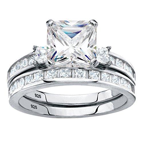 Platinum over .925 Silver 2 Piece Princess Cut White Cubic Zirconia Wedding Ring Set Size 9