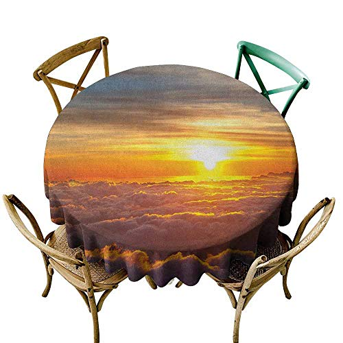 StarsART Party Table Cloth Clouds,Sunset Scenery Over The Clouds Imaginary Secret Weather Lands Natural Wonders on Earth, Orange D50,Round -