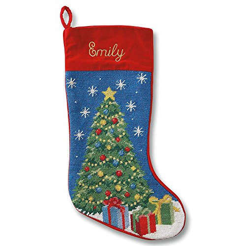 Heirloom Stocking - Lillian Vernon Personalized Heirloom Christmas Stocking - Needlepoint Christmas Tree, 100% Wool, 9.5
