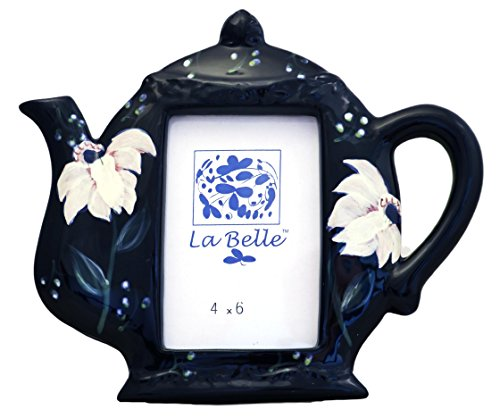 (Tuscan Magnolia Cobalt Blue Garden Collection Hand Painted Picture Photo Frame 3 x 4 1/2