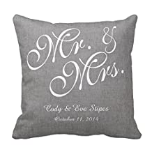 Decors Gray White Linen Mr. and Mrs. Wedding Pillow