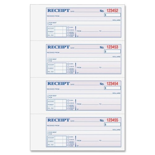 Wholesale CASE of 20 - Adams Money/Rent Receipt Book-Money/Rent Receipt Book,Carbonless,2-Part,7-5/8''x11'',WE by ABF