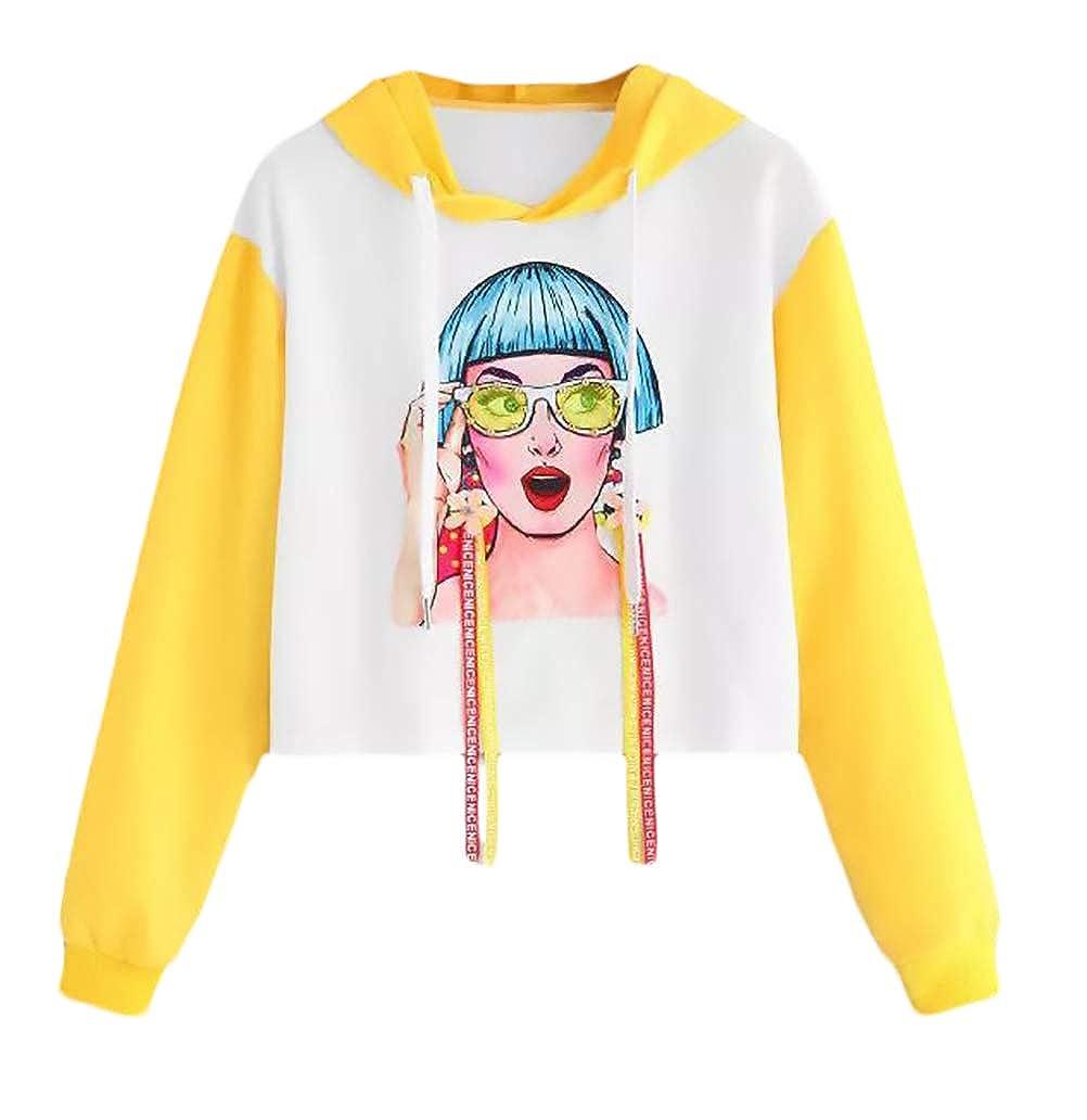 BOLAWOO Felpa con Cappuccio Donna Manica Lunga Stampate Pattern Felpa Primaverile Mode di Marca Hipster Elegante Autunno Sciolto Tempo Libero Pullover Hoodie con Coulisse None